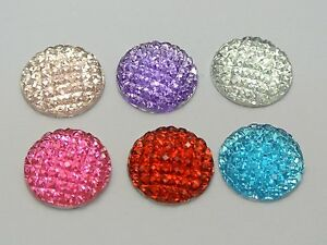 50-Mixed-Color-Flatback-Resin-Dotted-Dome-Rhinestone-Cabochon-Gems-16mm