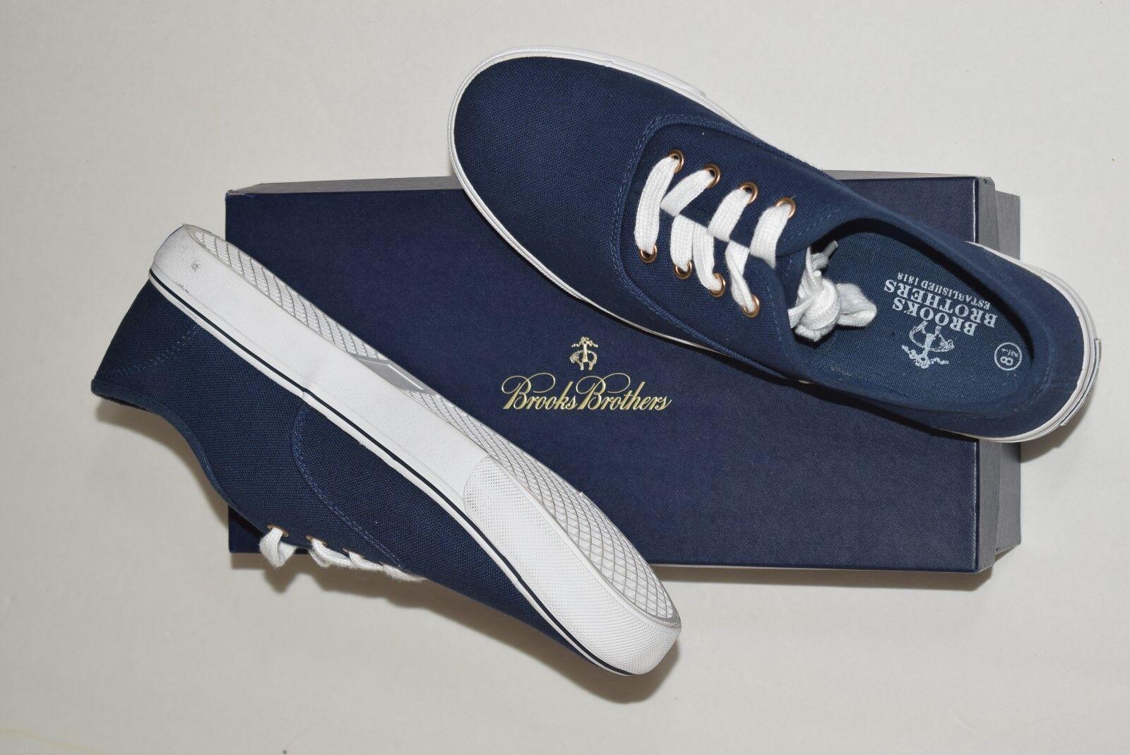 NIB BROOKS BredHERS Size 8.5 Men's Navy 100% Cotton Canvas Tennis shoes Sneaker