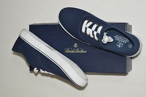 23b53cb3e94 NIB BROOKS BROTHERS Size 8.5 Men s Navy 100% Cotton Canvas Tennis ...