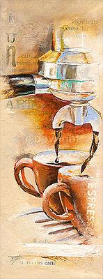 Elizabeth Espin: Storia del Caffè Cafe Küche Fertig-Bild 25x70 Wandbild modern