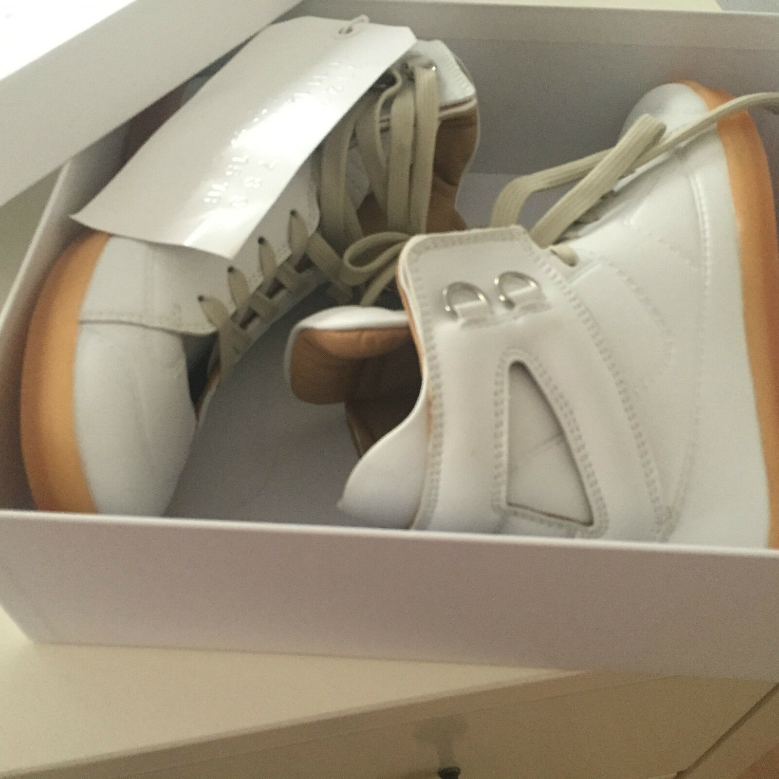 Maison Martin Margiela Paris H&M High Leder Top Sneakers Weiß White Leder High 40 US 7 77016b