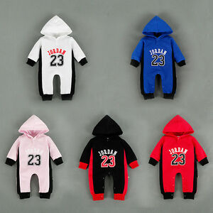 5f39d19d0106d9 New Baby Newborn Boy Girl Jordan 23 Hooded Spring Romper Baby Outfit ...