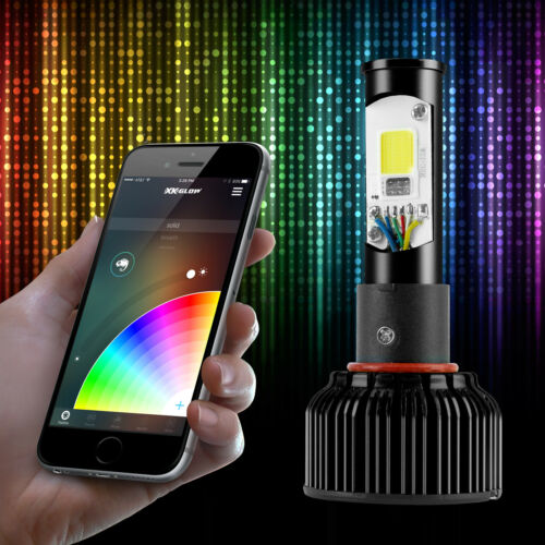 9007 2in1 Bright 6000K LED Headlight Bulbs Color Changing Devil Eye App Control