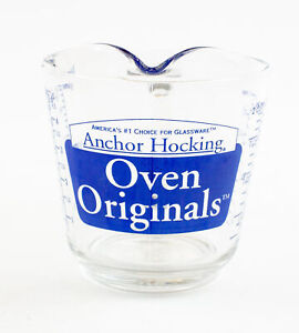 """Anchor Hocking Blue 498 Oven Originals Glass - 2 Cup Measuring Cup """"D"""" Handle"""