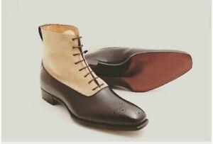 Handgemachte-echte-braune-Leder-und-beige-Wildleder-Oxford-Stiefel-fuer-Herren