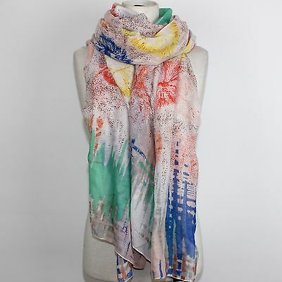 Schal Tuch Fashion Vintage Abstrakt Batik Bunt Pusteblumen Multi NEU Retro