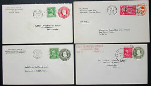 Postal-History-Adv-Set-of-4-US-Covers-Letters-GS-Rnd-Lupo-USA-Letters-H-8238