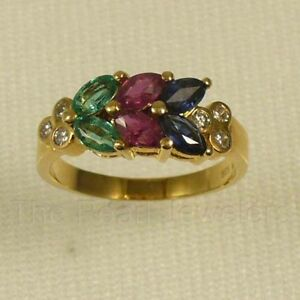 14k-Yellow-Gold-Genuine-Diamond-amp-Marquise-Red-Ruby-Sapphire-amp-Emerald-Ring-TPJ