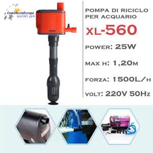 Fish & Aquariums Pompa Immersione Per Riciclo Dell' Acqua 1500 L/h Per Acquario Mod Xl-560 25 W
