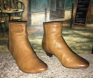 """best service 50% off united kingdom Frye """"Steffi Zip"""" Short Tan Leather Kitten Heel Ankle Boots Size ..."""