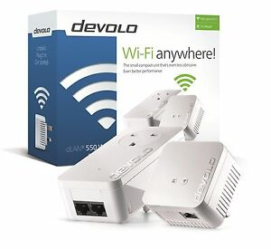 devolo 9633 powerline dlan 550 wifi starter kit complete with 2 adapters plugs ebay. Black Bedroom Furniture Sets. Home Design Ideas