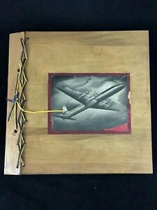 Vintage-1950-039-s-Wooden-Scrapbook-Album-Aviation-Weapons-Flight-History-Articles