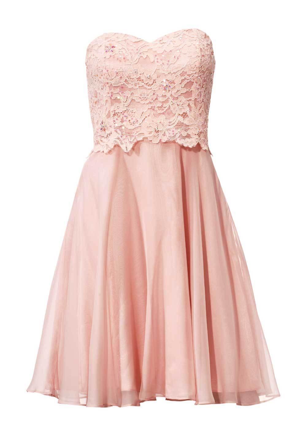 Ashley Brooke Designer Cocktailkleid m. Spitze rosé Gr 40 bis 46 Abendkleid