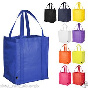 5-x-Reutilizable-Supermercado-Bolsa-Compra-Reforzado-Base-Shopper-De-color-BN