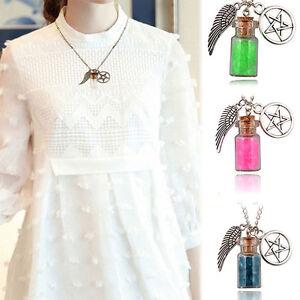 Damen-Strass-Halskette-Herz-Flasche-Anhaenger-Kette-Schmuck-Pentagramm