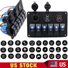 6-Gang Waterproof Car Marine Boat Circuit Blue LED Rocker Switch Panel Breaker V