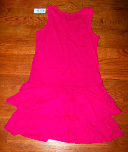 Girls THE CHILDREN/'S PLACE Bright Pink Tiered Sparkle Festive Fun Dress New