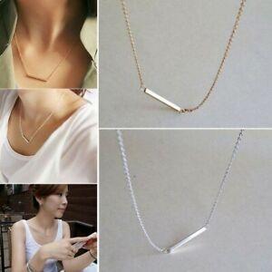 Fashion Bar Silver /& Gold Noble Horizontal Stick Bone Necklace Simple OL