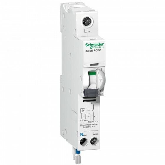 Schneider Electric - RCBO earth leakage circuit breaker - 1P + N, 20A, 3mA, 240v
