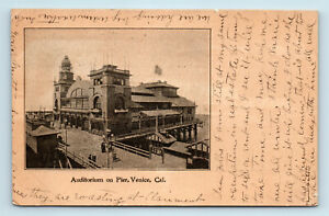 Venice, CA - EARLY 1900s UDB VIEW OF AUDITORIUM ON PIER BOARDWALK - POSTCARD