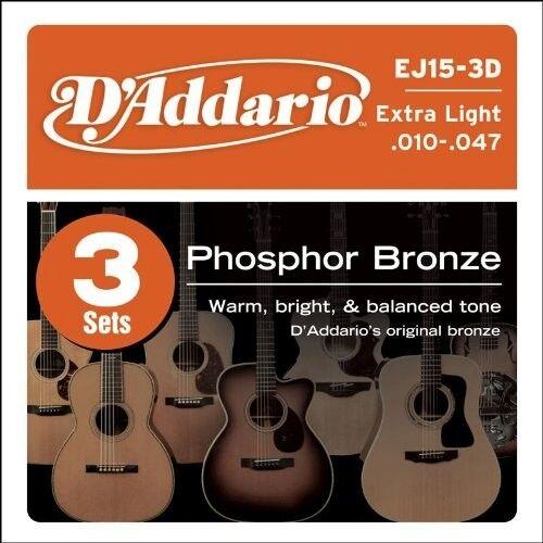 3 NEW LOT SETS D/'Addario EJ15 Phosphor Bronze Acoustic Guitar Strings X-Light