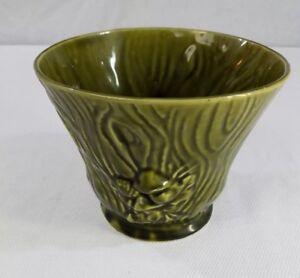 Vintage-Brush-USA-Planter-Vase-7-034-Green-Log-with-Mushrooms-and-Web-B-220-7
