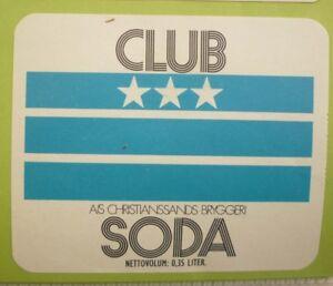 OLD-NORWAY-SOFT-DRINK-LABEL-1970s-CHRISTIANSANDS-BRYGGERI-CLUB-SODA