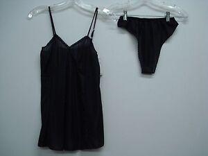 USA Made Nancy King Lingerie Baby Doll w/ Thong Pajamas Medium Black #608N