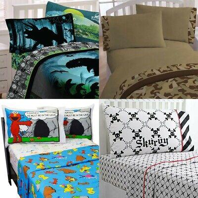 nEw BOYS ROOM BED SHEETS SET Dragon Dinosaur Racing Bedding Sheets Pillowcase