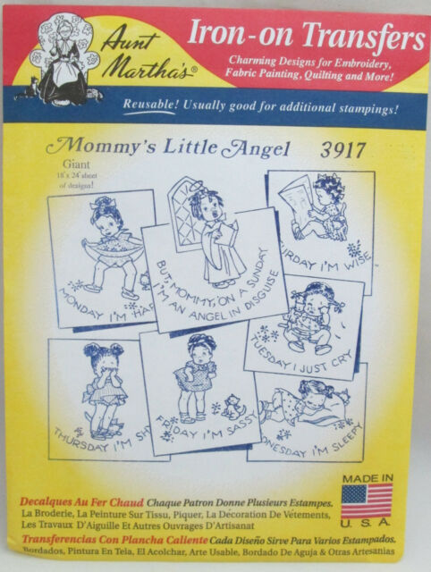 Mommy/'s Little Angel Aunt Martha/'s Hot Iron Embroidery Transfer #3917