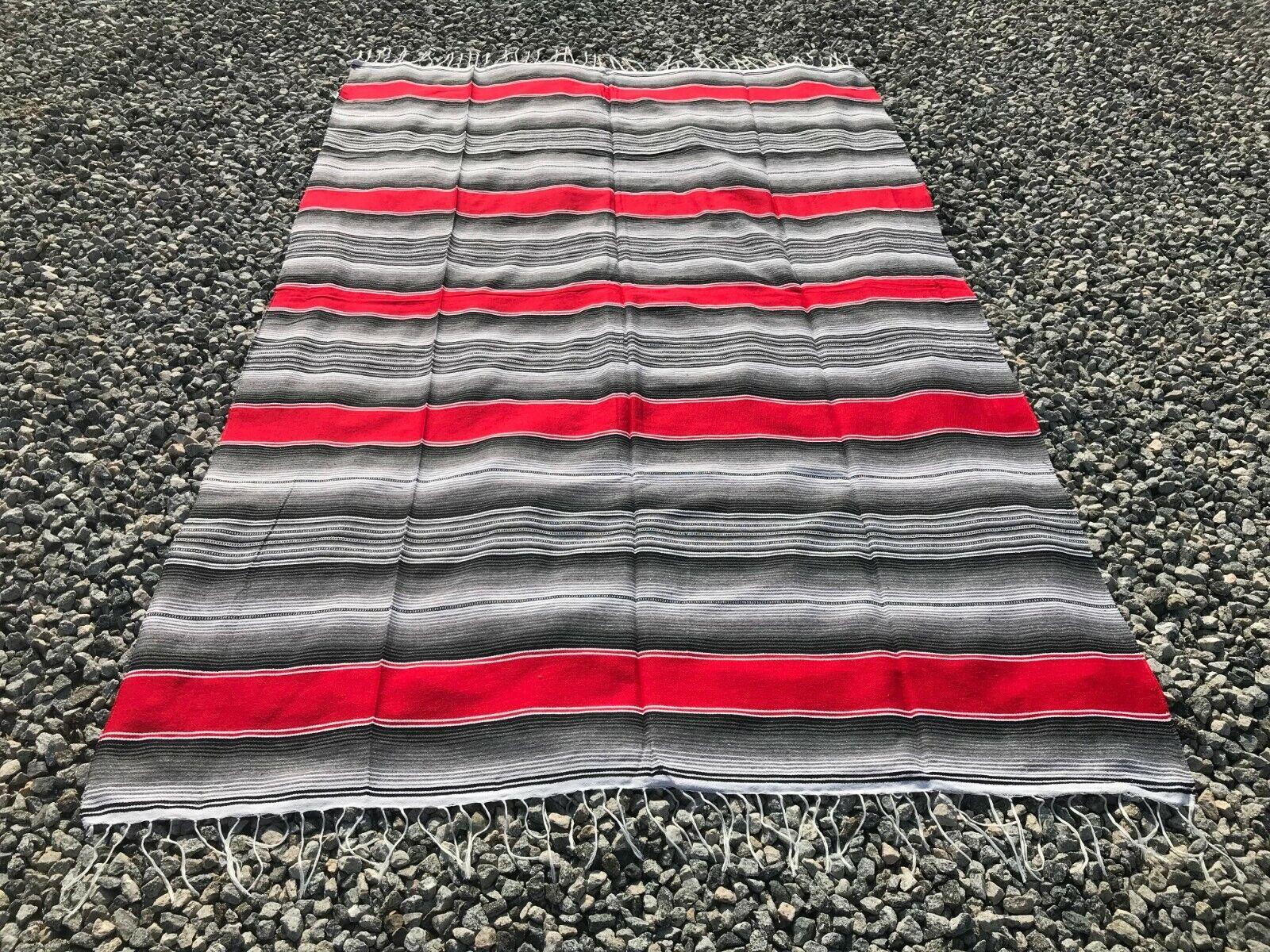 Mexican Blanket Sarape Mexicano Multi-Color Red #1 84