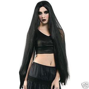 Extra-Long-Black-Wig-Adult-Godiva-Vampire-Witch-40-034-101cm-Costume-Accessories