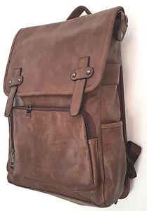 Men/'s Brown Large Faux Leather BackPack Rucksack Bag