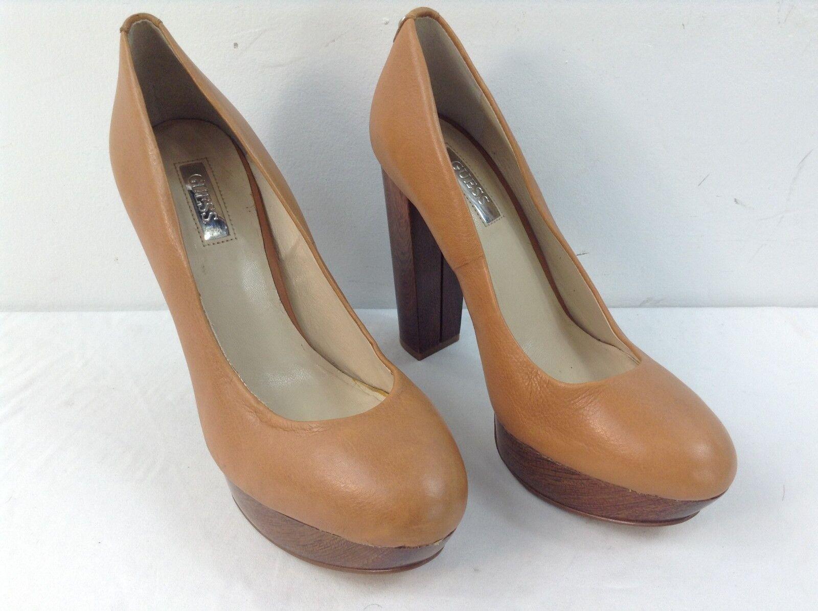 Guess High Heel Pumps Tan Leather Size 6.5M Dark Wood Tone Heel Platform