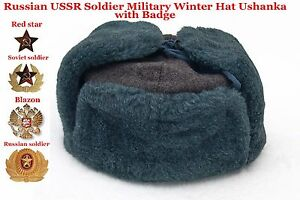 36e3061cded98 Russian USSR Soldier Military Winter Hat with Badge Fur hat Original ...