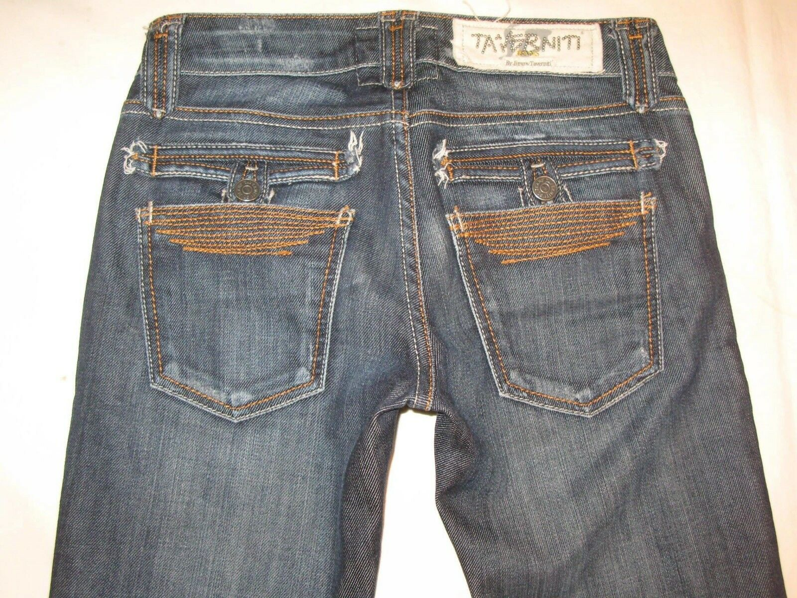 Taverniti Jeans Janis 18 Low Slim Bootcut Dark Distressed Sz 24 -Fit Like sz 26