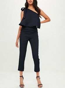 3e679442fc1 Image is loading MISSGUIDED-One-Shoulder-Bow-Jumpsuit-M67-22