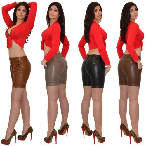 Donna Pantaloncini corti Pelle Pantaloni in Similcuoio Culottes H27 IT