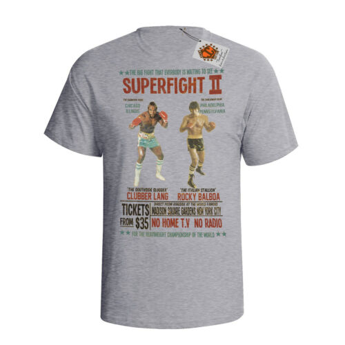Boxing Superfight Herren T-Shirt Film Inspiriert Rocky 3 Lang v Balboa Retro