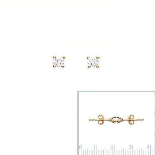 Boucles D/' Oreilles HOMME DIAM/'S 4 Griffes ZIRCO en Plaqué OR TAILLE au CHOIX