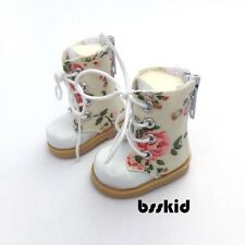 "Y06 BJD Yo-SD 1/6 Dollfie 13"" Effner 12"" Kish Doll Shoes White Floral Boot"