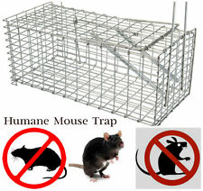 LARGE GALVANIZED METAL HUMANE COLLAPSIBLE RAT,MOLE,MOUSE TRAP CAGE EASY BAIT