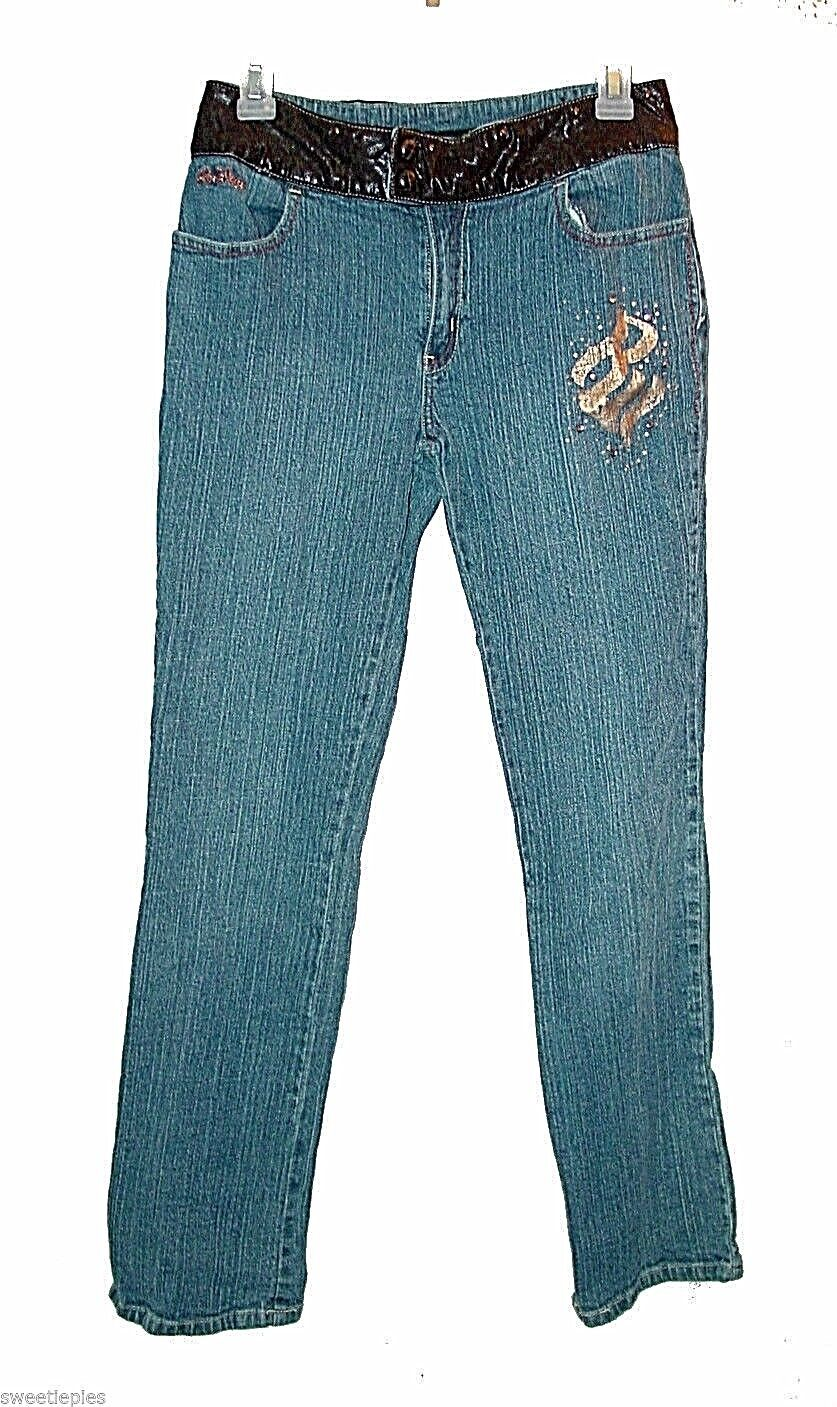 New jeans, RocaWear, Ramie-Cotton Faux-Leather Stretch Embellished  16