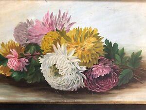 Antique Oil Painting Chrysanthemums Flowers Framed Circa 1900 S Ebay