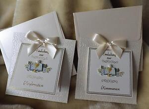 Das Bild Wird Geladen Edle Einladungskarten  Einladung Zur Kommunion Konfirmation Creme Gold