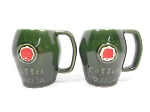 VINTAGE 1977 MCCOY POTTERY SET OF 2 GREEN GLAZED DOM LIQUEUR COFFEE CUPS MUGS