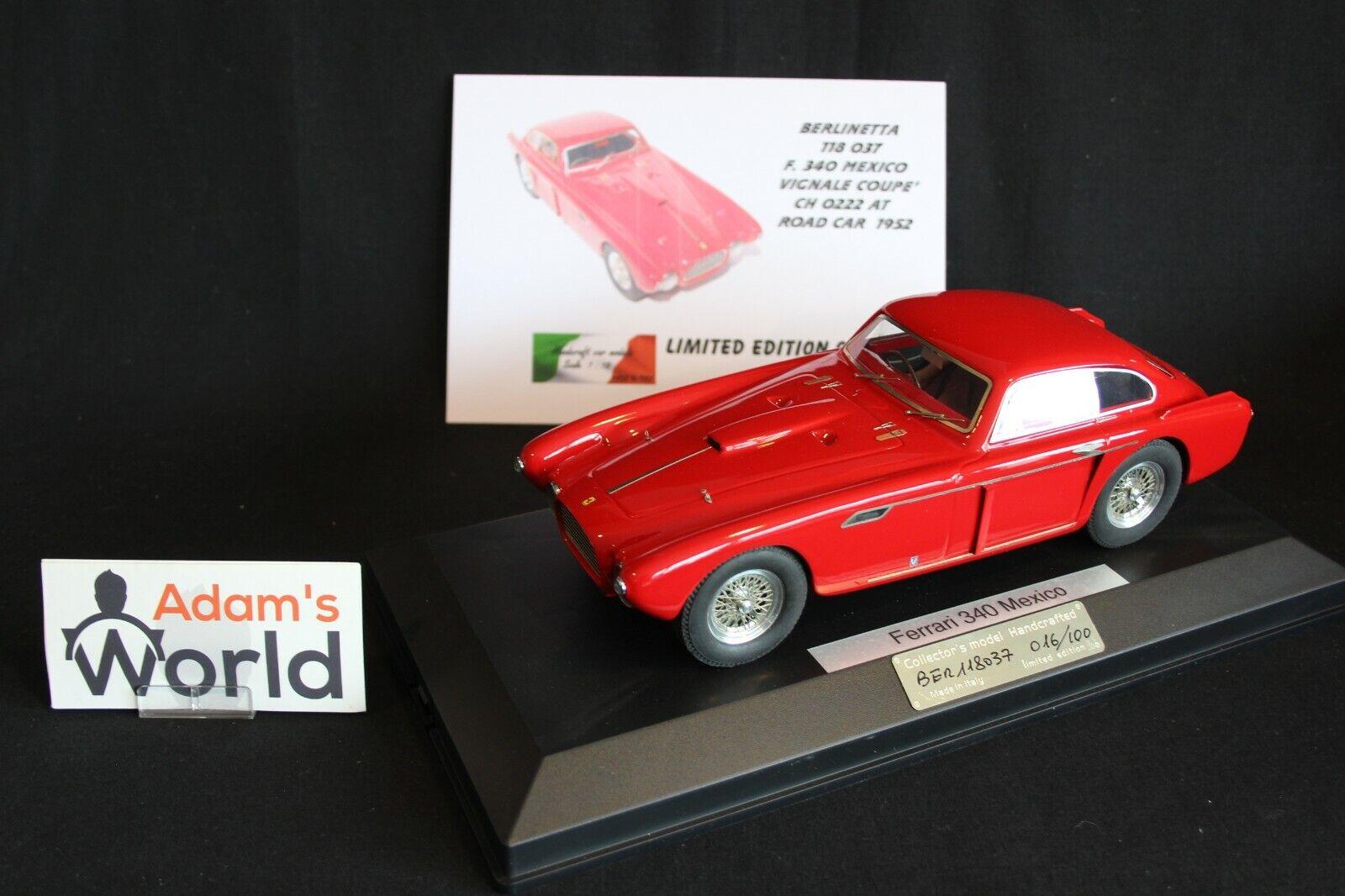 MG Model Plus Ferrari 340 Mexico Vignale Coupé CH 0222 AT 1952 1 18 rouge (PJBB)