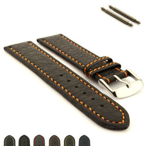 Men-039-s-Genuine-Leather-Watch-Strap-Band-Kana-different-stitching-Spring-Bars