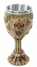 Retro Red Eyes Skulls Wine Goblet Stainless Medieval Collectible Home Decor Gift