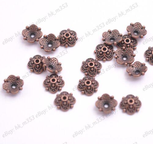 Grano de flor 100Pcs Tapas Floral espaciador granos 8MM K3113 Aleación de plata tibetana